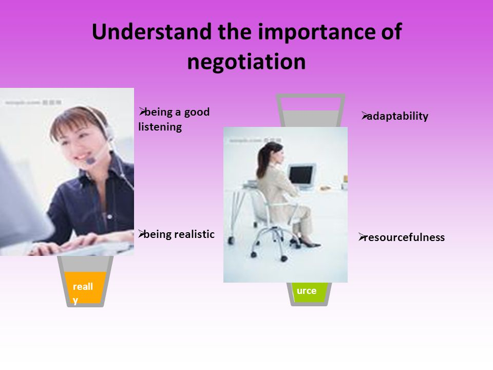 listen ing reall y adap t reso urce  being a good listening  being realistic  adaptability  resourcefulness Understand the importance of negotiati