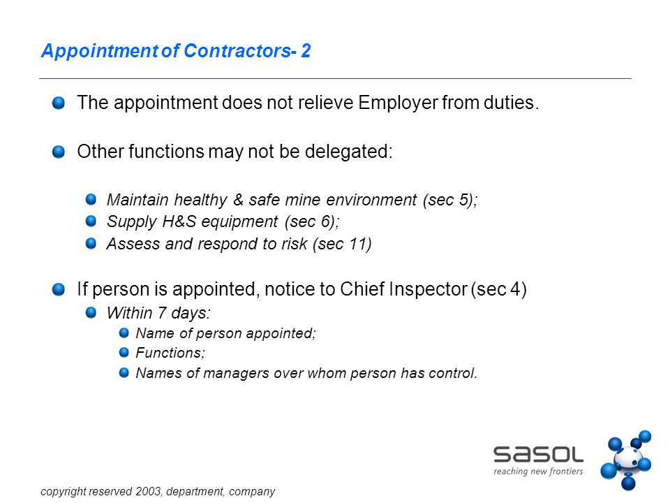 copyright reserved 2003, department, company Appointment of Contractors- 2 The appointment does not relieve Employer from duties. Other functions may