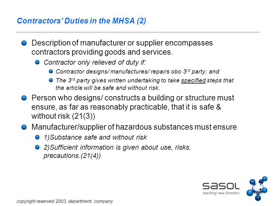 copyright reserved 2003, department, company Contractors' Duties in the MHSA (2) Description of manufacturer or supplier encompasses contractors provi