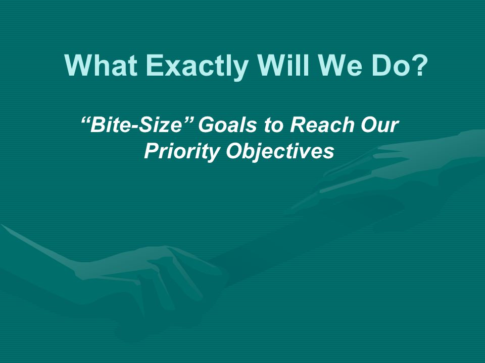 What Exactly Will We Do Bite-Size Goals to Reach Our Priority Objectives