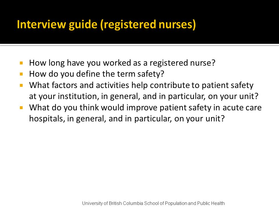  How long have you worked as a registered nurse.  How do you define the term safety.