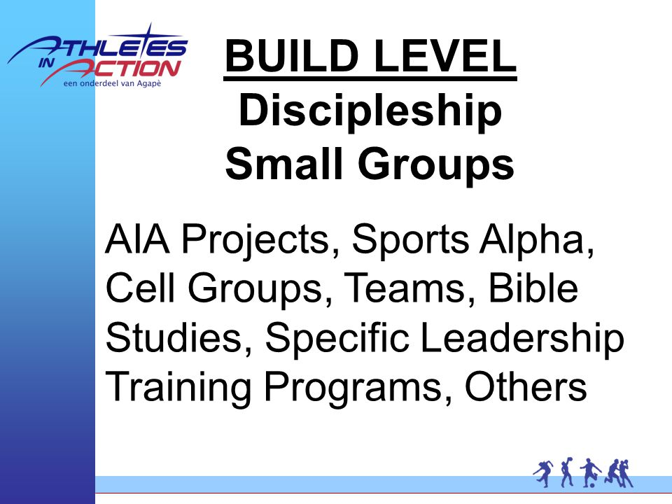 BUILD LEVEL Discipleship Small Groups AIA Projects, Sports Alpha, Cell Groups, Teams, Bible Studies, Specific Leadership Training Programs, Others