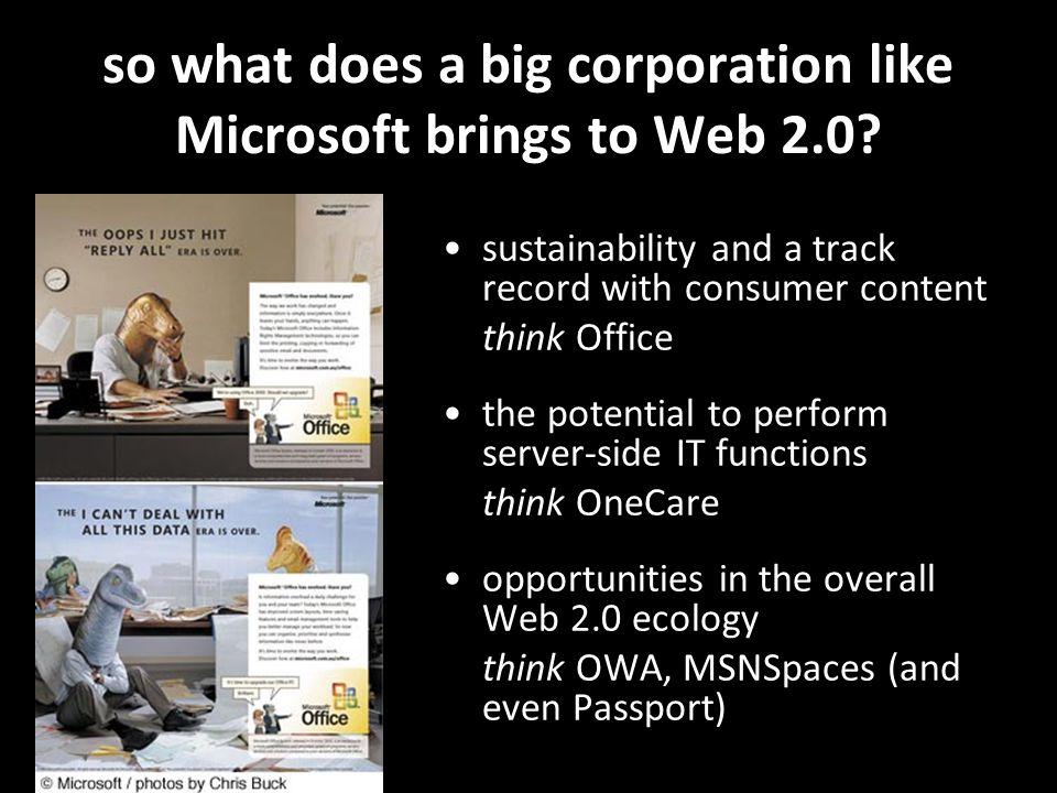 so what does a big corporation like Microsoft brings to Web 2.0.