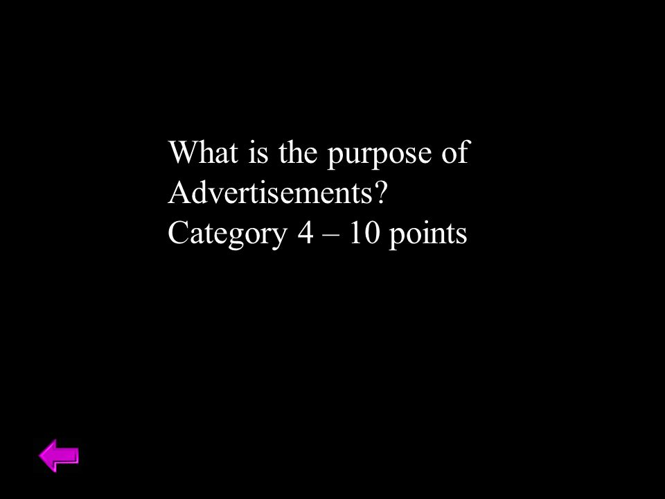What is the purpose of Advertisements Category 4 – 10 points