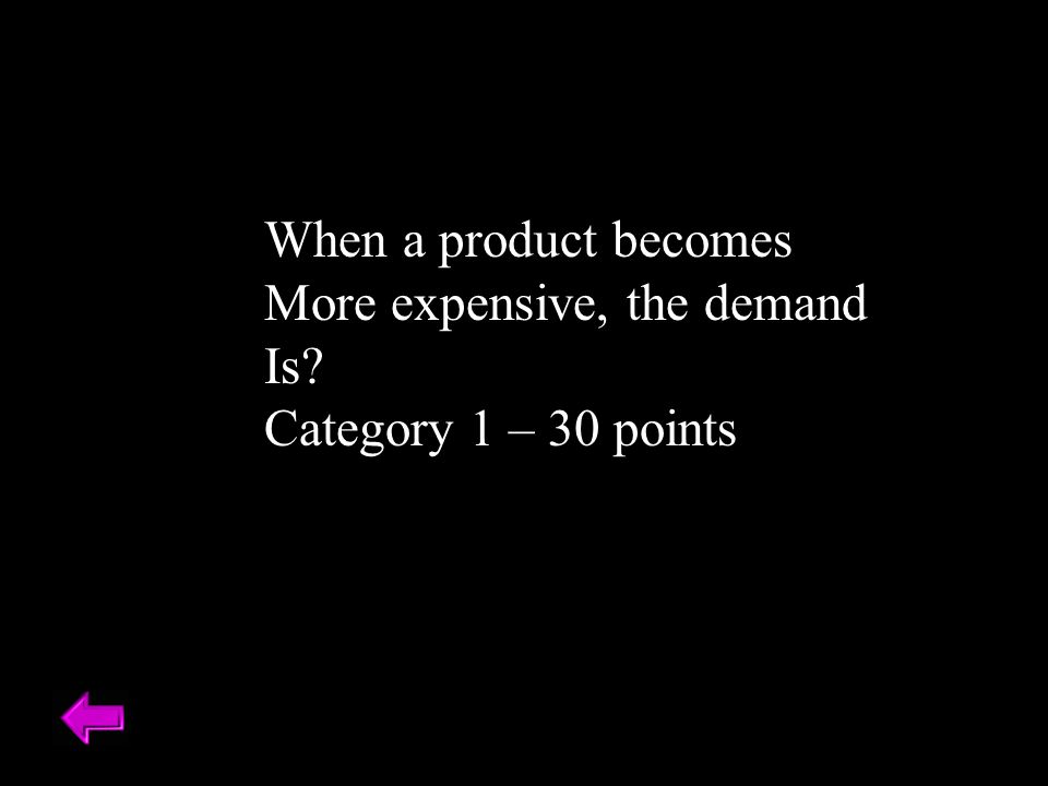 When a product becomes More expensive, the demand Is Category 1 – 30 points