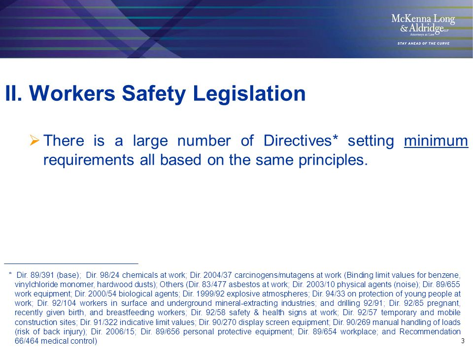 3  There is a large number of Directives* setting minimum requirements all based on the same principles. II. Workers Safety Legislation * Dir. 89/391