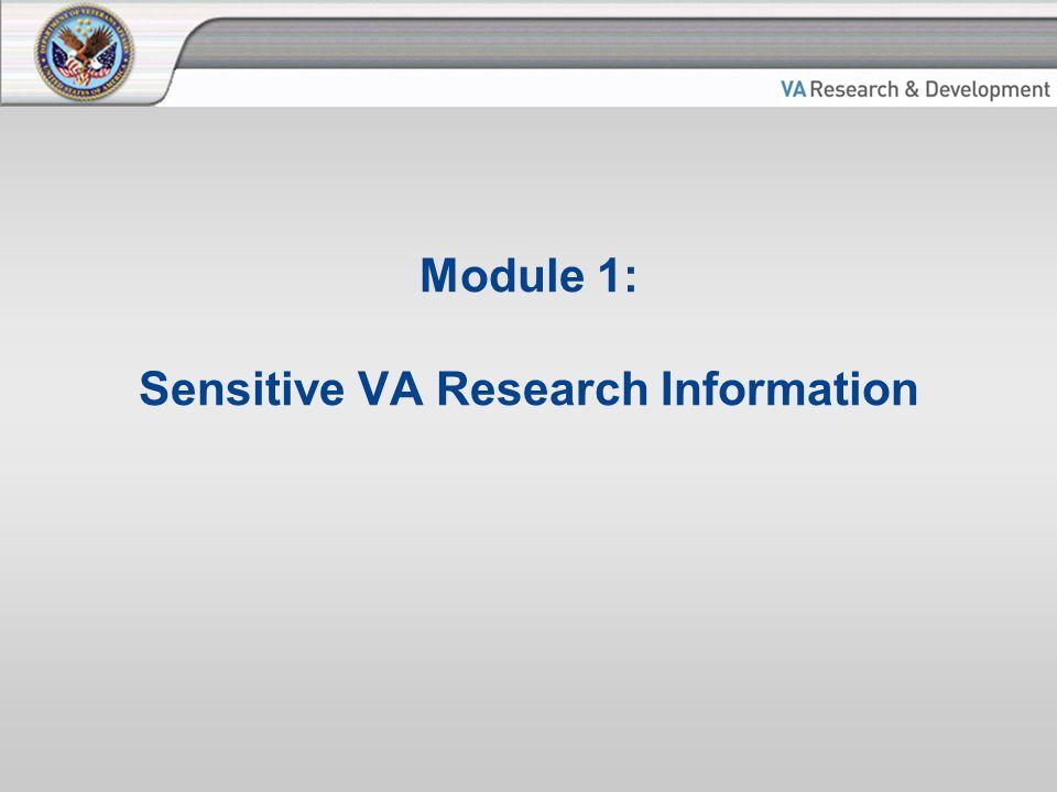 Module 1: Sensitive VA Research Information