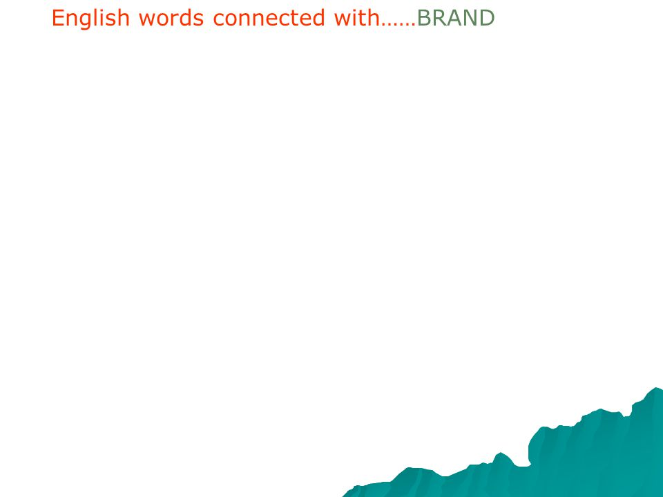 English words connected with……BRAND