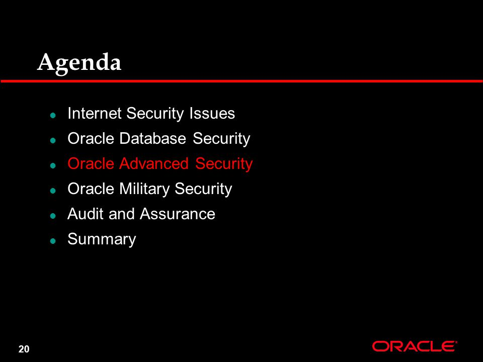 20 Agenda Internet Security Issues Oracle Database Security Oracle Advanced Security Oracle Military Security Audit and Assurance Summary
