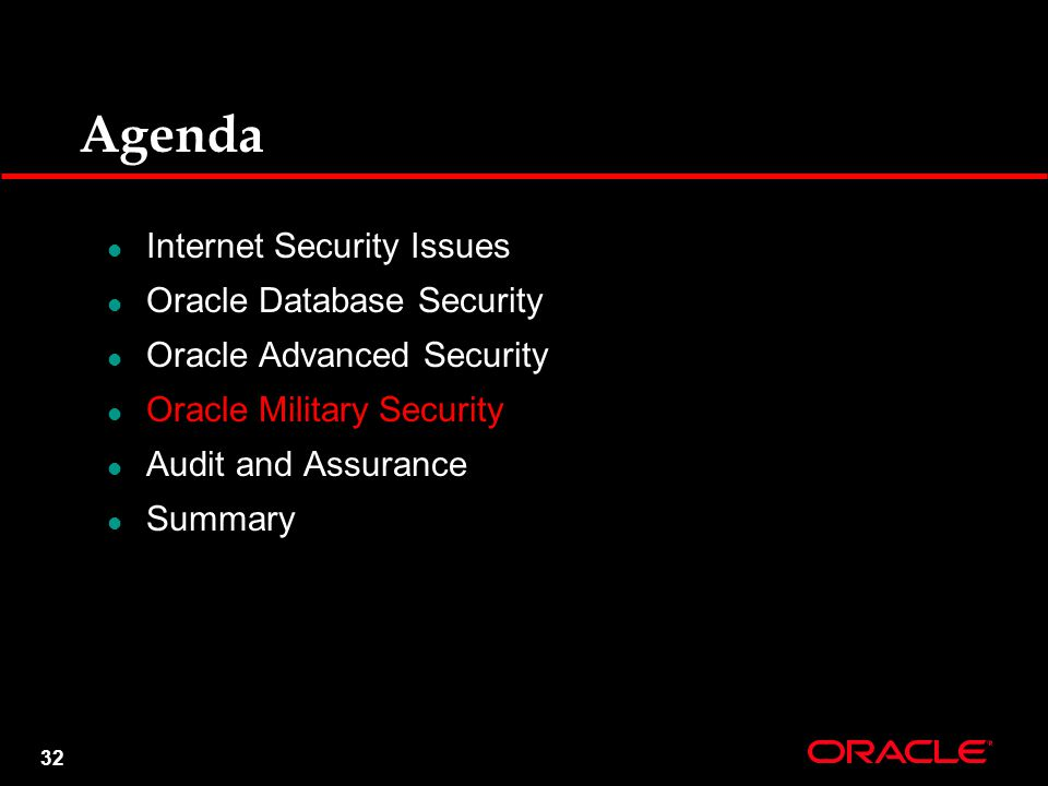 32 Agenda Internet Security Issues Oracle Database Security Oracle Advanced Security Oracle Military Security Audit and Assurance Summary