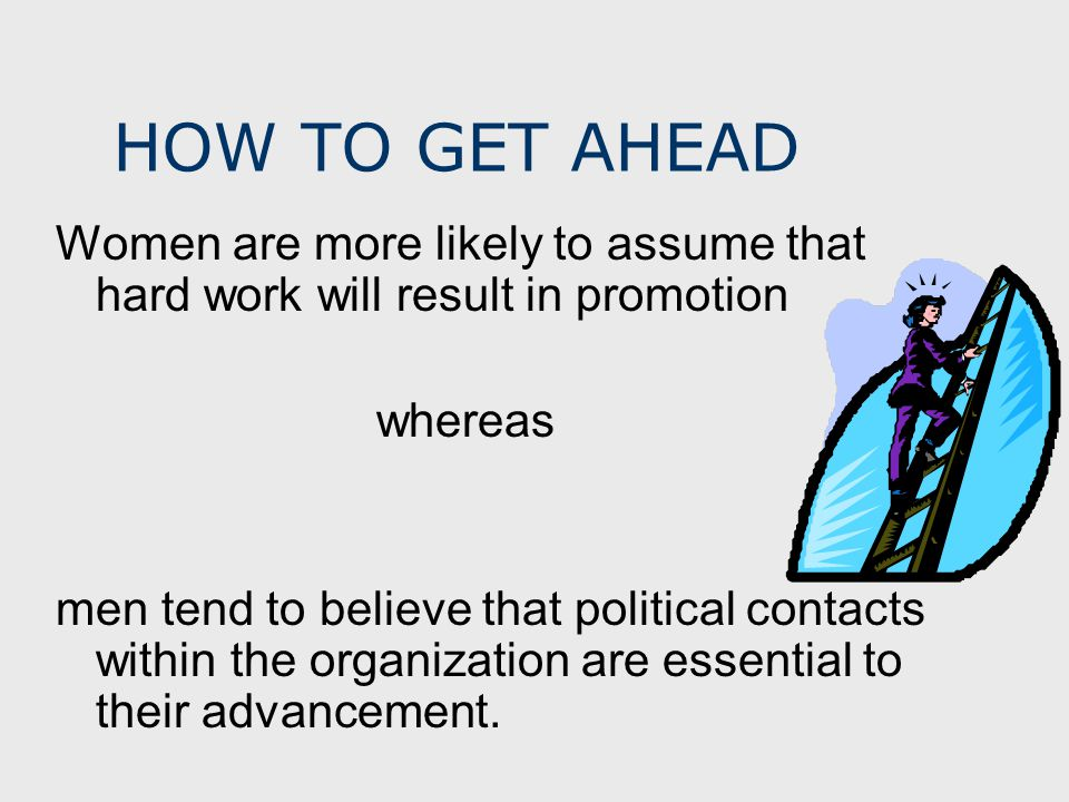 HOW TO GET AHEAD Women are more likely to assume that hard work will result in promotion whereas men tend to believe that political contacts within the organization are essential to their advancement.
