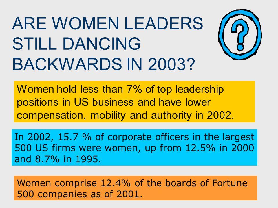 ARE WOMEN LEADERS STILL DANCING BACKWARDS IN 2003.