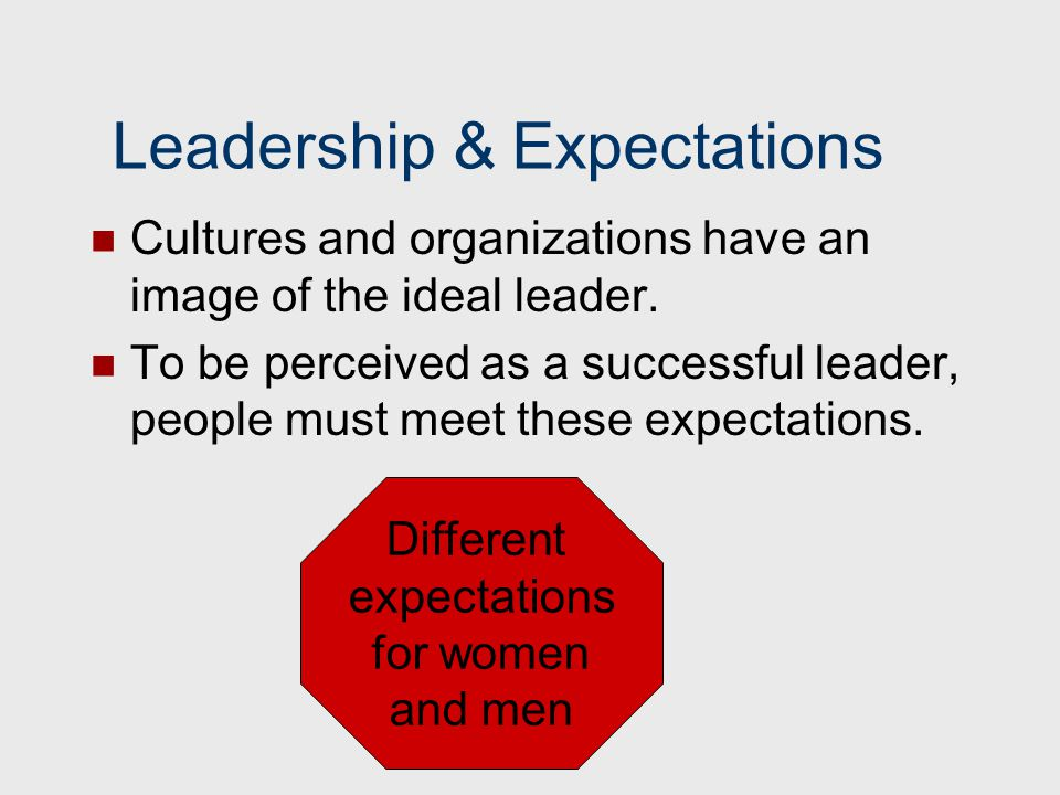 Leadership & Expectations Cultures and organizations have an image of the ideal leader. To be perceived as a successful leader, people must meet these
