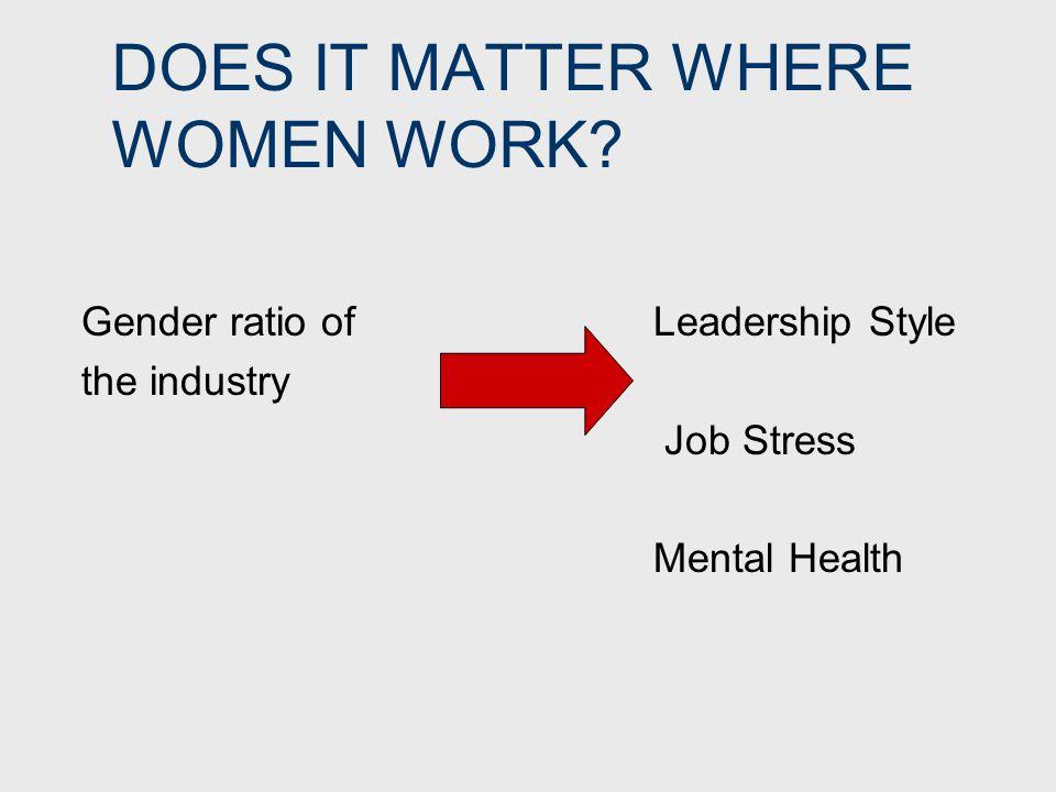 DOES IT MATTER WHERE WOMEN WORK.