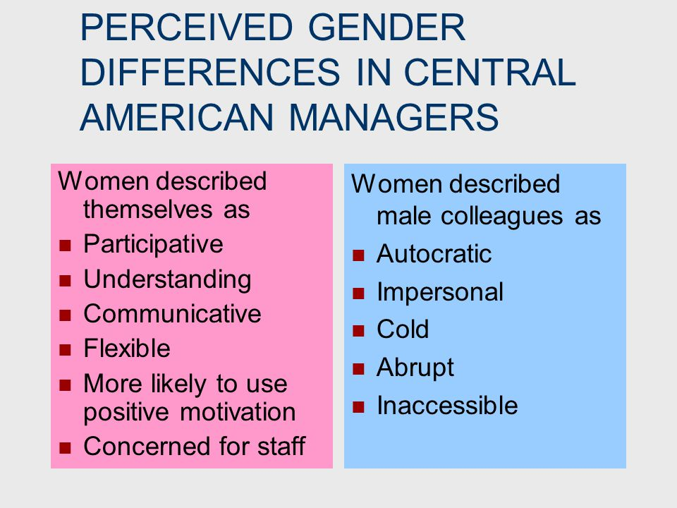 EVIDENCE FOR NO DIFFERENCE Study of 13,600 leaders in various countries found similarities between senior male and female managers far outweigh the differences.