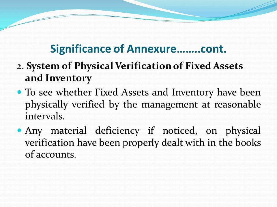 Significance of Annexure……..cont. 2.