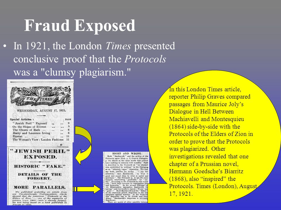 Fraud Exposed In 1921, the London Times presented conclusive proof that the Protocols was a