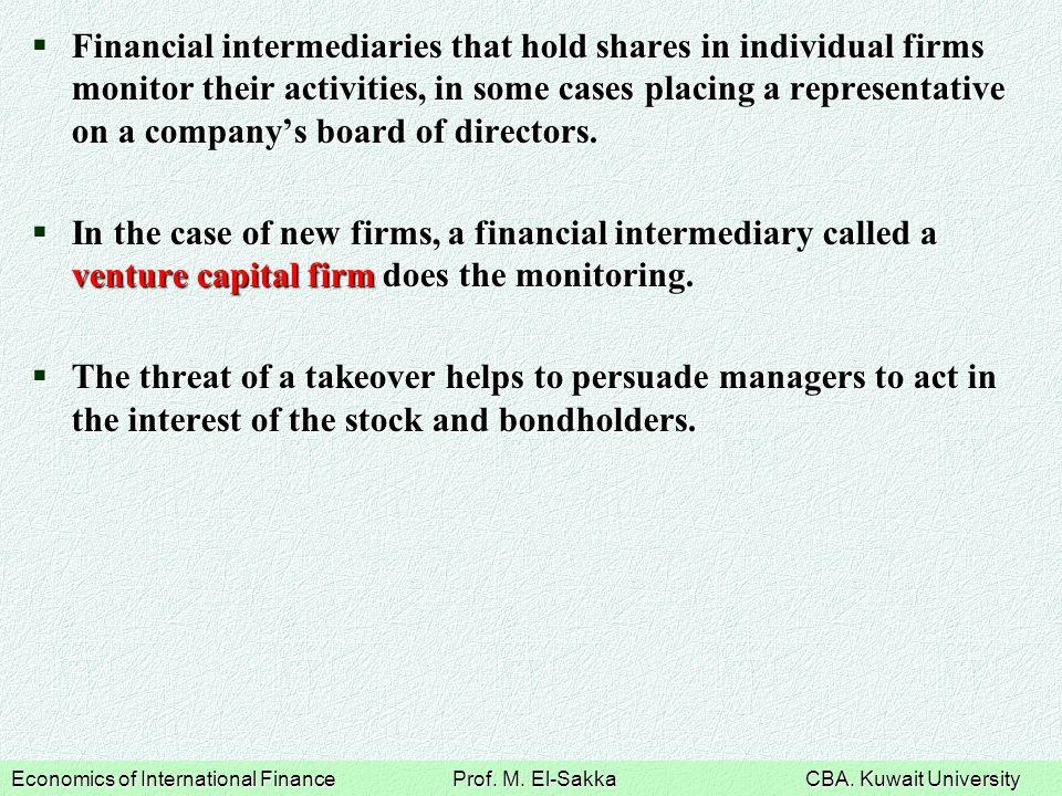 Economics of International Finance Prof. M. El-Sakka CBA.