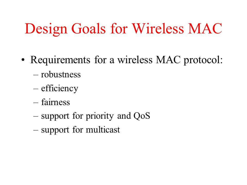 MAC-PCF (cont) t stations' NAV wireless stations point coordinator D3D3 NAV PIFS D4D4 U4U4 SIFS CF end contention period contention free period t2t2 t3t3 t4t4
