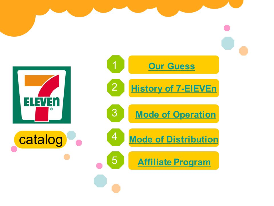 catalog 1 2 3 4 5 Our Guess History of 7-ElEVEn Mode of Operation Mode of Distribution Affiliate Program