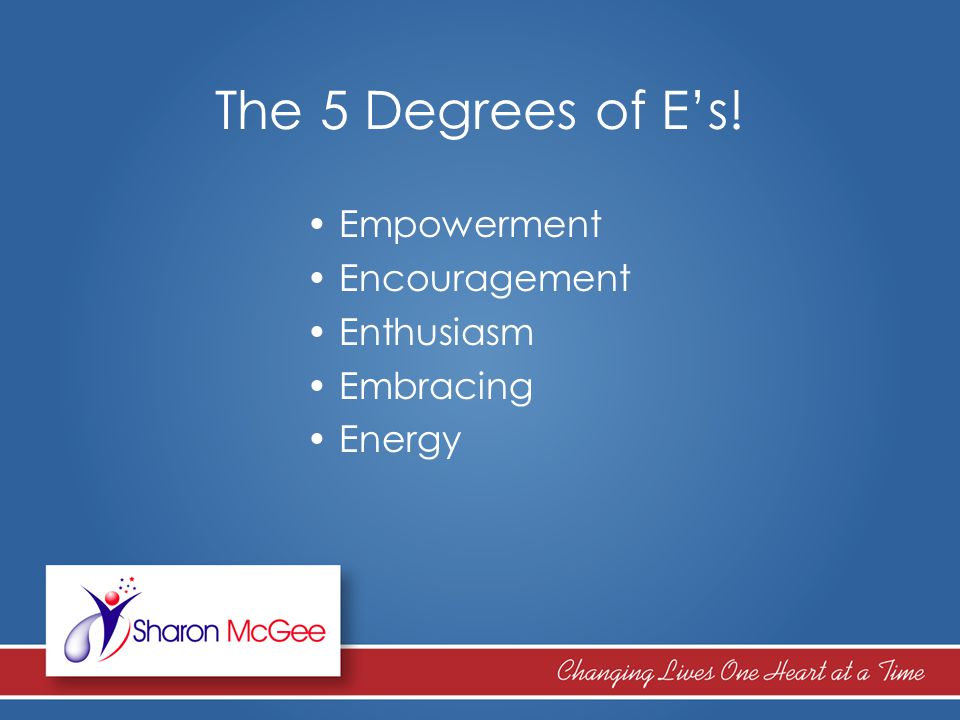 The 5 Degrees of E's Think of it.