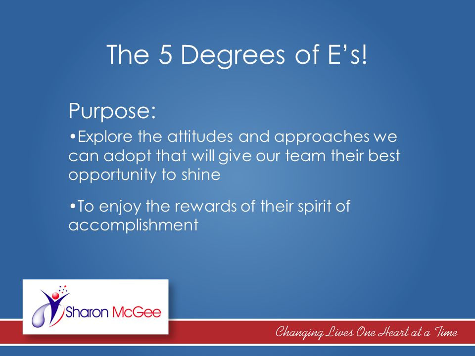 Purpose: Explore the attitudes and approaches we can adopt that will give our team their best opportunity to shine To enjoy the rewards of their spiri