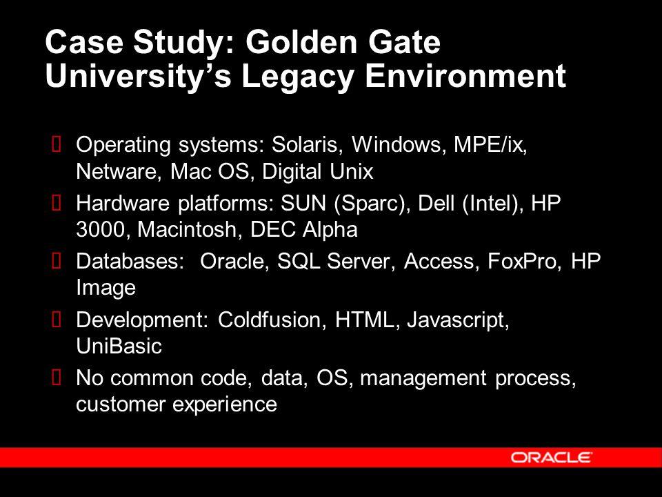 Case Study: Golden Gate University's Legacy Environment  Operating systems: Solaris, Windows, MPE/ix, Netware, Mac OS, Digital Unix  Hardware platforms: SUN (Sparc), Dell (Intel), HP 3000, Macintosh, DEC Alpha  Databases: Oracle, SQL Server, Access, FoxPro, HP Image  Development: Coldfusion, HTML, Javascript, UniBasic  No common code, data, OS, management process, customer experience