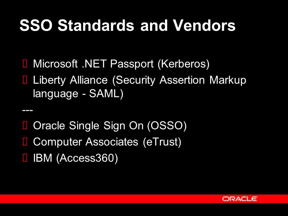 SSO Standards and Vendors  Microsoft.NET Passport (Kerberos)  Liberty Alliance (Security Assertion Markup language - SAML) ---  Oracle Single Sign On (OSSO)  Computer Associates (eTrust)  IBM (Access360)