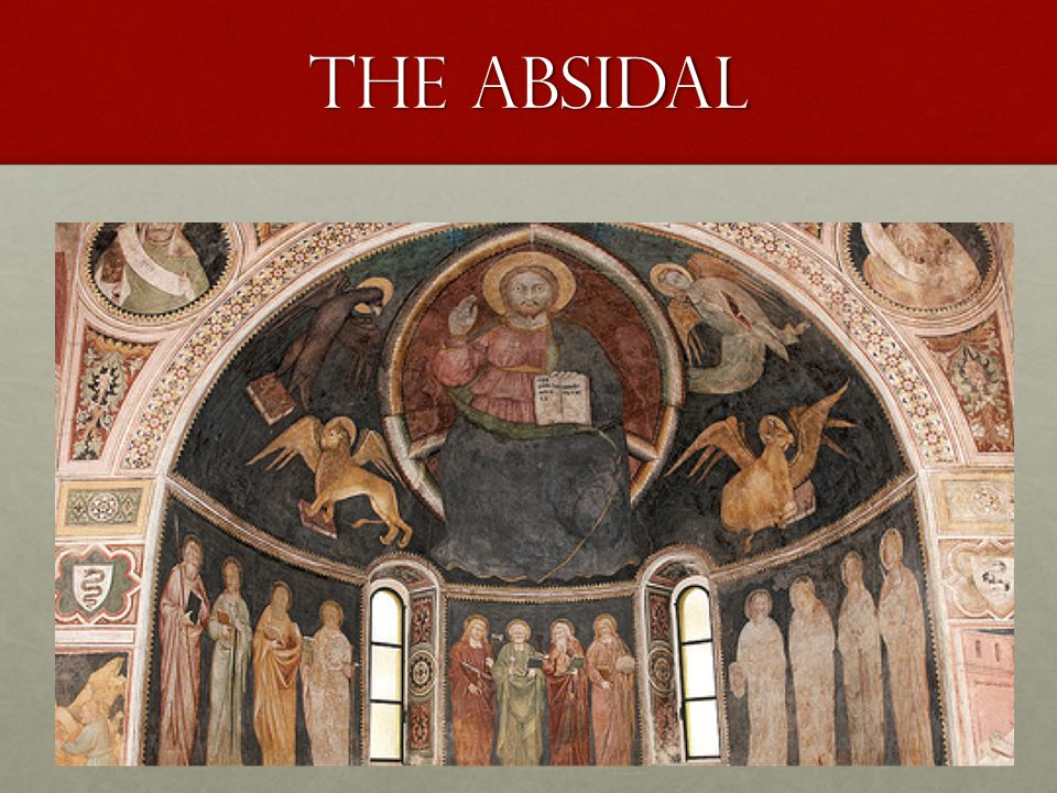 In the Absidal Conch the picture of the Maiestas Dominus is among some of the Evangelistic symbols and dates back to Prechristian standards.In the Absidal Conch the picture of the Maiestas Dominus is among some of the Evangelistic symbols and dates back to Prechristian standards.