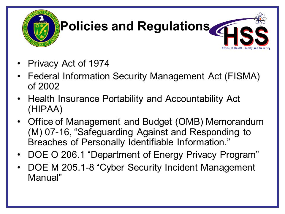 Privacy Act of 1974 Federal Information Security Management Act (FISMA) of 2002 Health Insurance Portability and Accountability Act (HIPAA) Office of