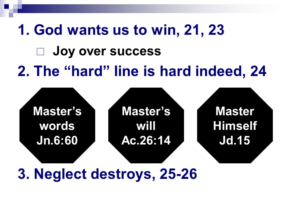 1. God wants us to win, 21, 23  Joy over success 2.
