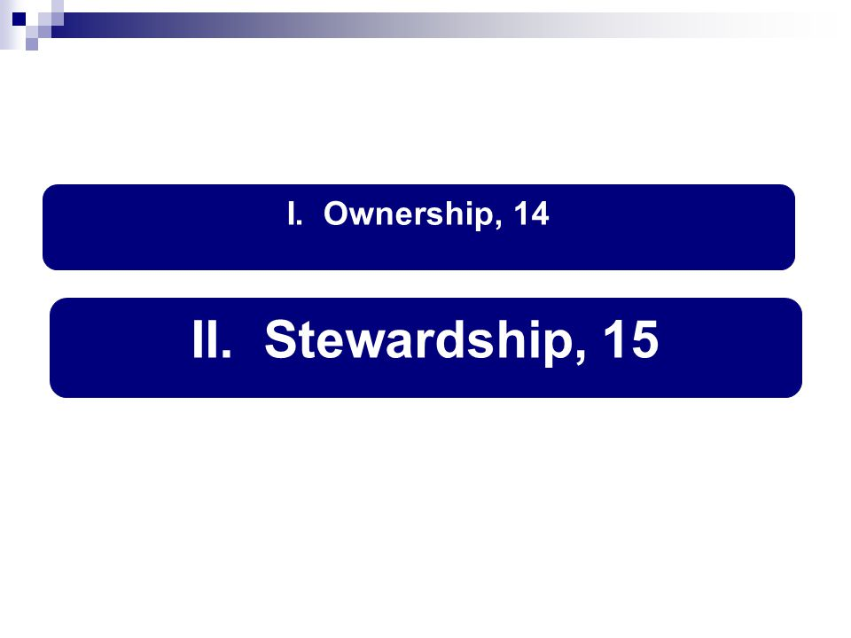 II. Stewardship, 15
