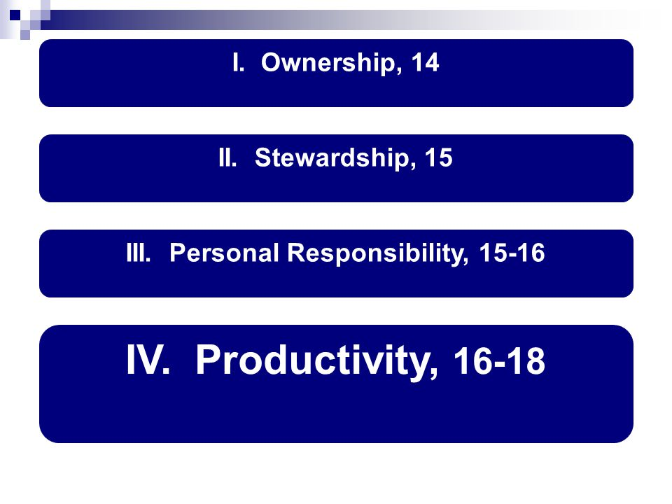 I. Ownership, 14 IV. Productivity, 16-18 II. Stewardship, 15 III. Personal Responsibility, 15-16
