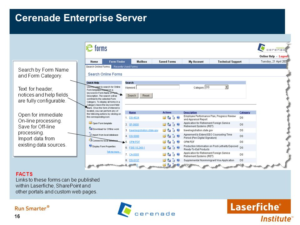 16 Cerenade Enterprise Server Text for header, notices and help fields are fully configurable. Open for immediate On-line processing. Save for Off-lin