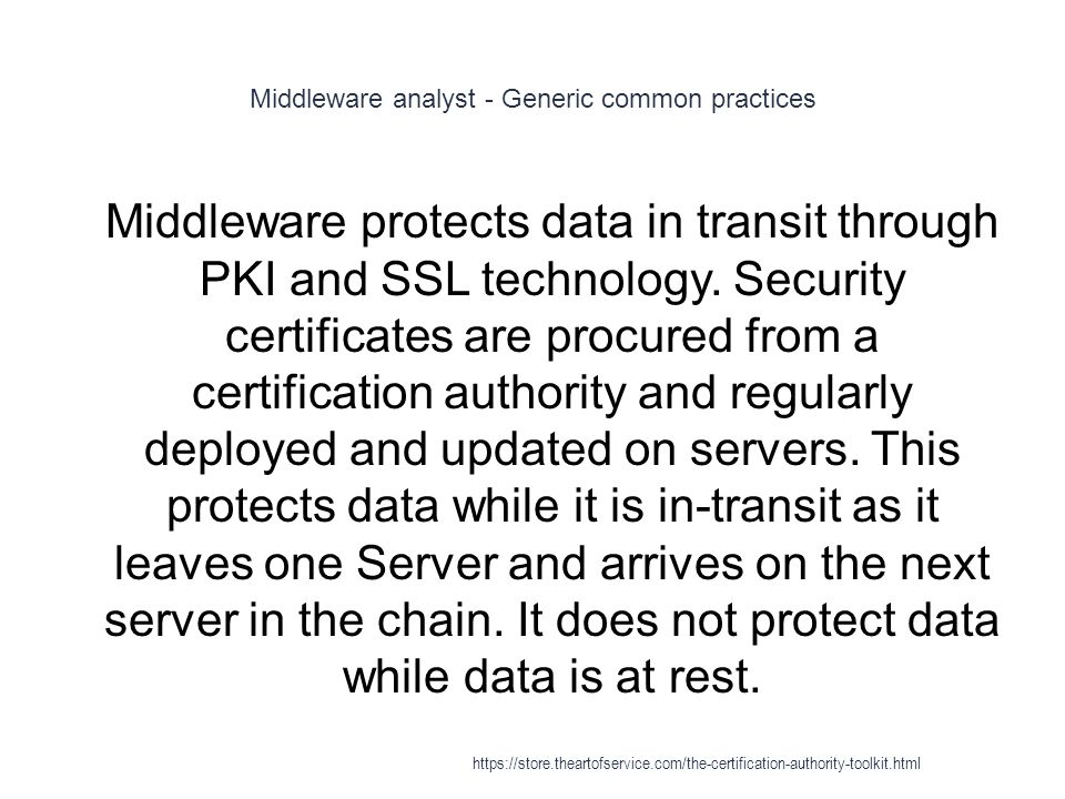 Middleware analyst - Generic common practices 1 Middleware protects data in transit through PKI and SSL technology.