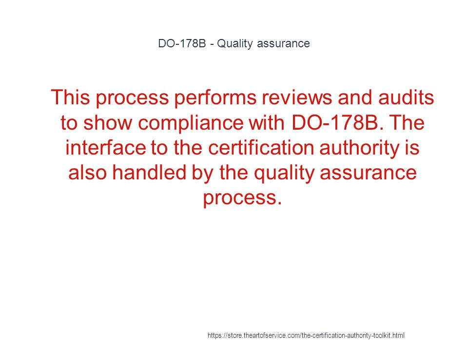 DO-178B - Quality assurance 1 This process performs reviews and audits to show compliance with DO-178B.