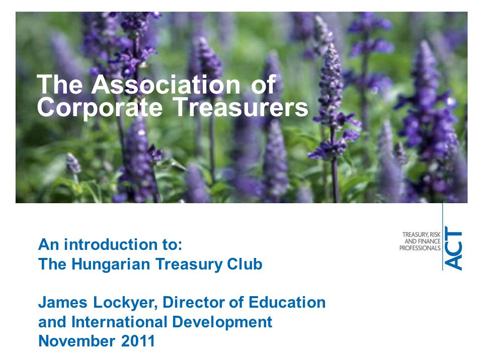 The Association of Corporate Treasurers An introduction to: The Hungarian Treasury Club James Lockyer, Director of Education and International Development November 2011