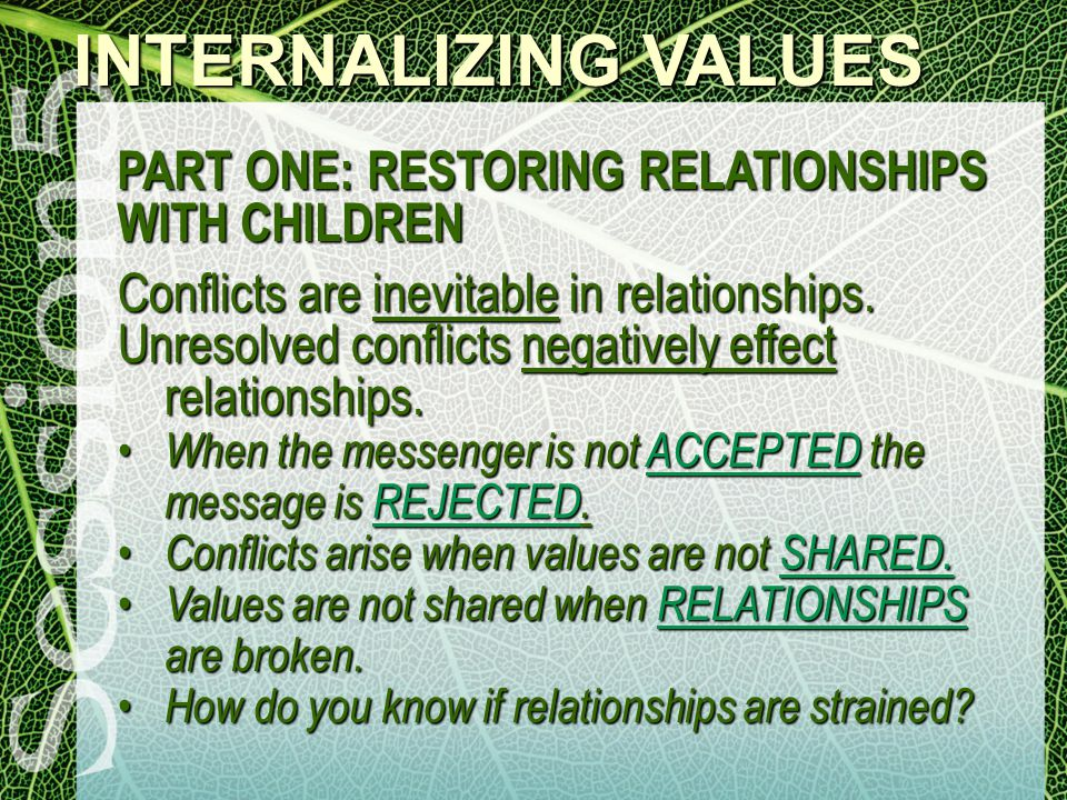 Conflicts are inevitable in relationships. Unresolved conflicts negatively effect relationships.
