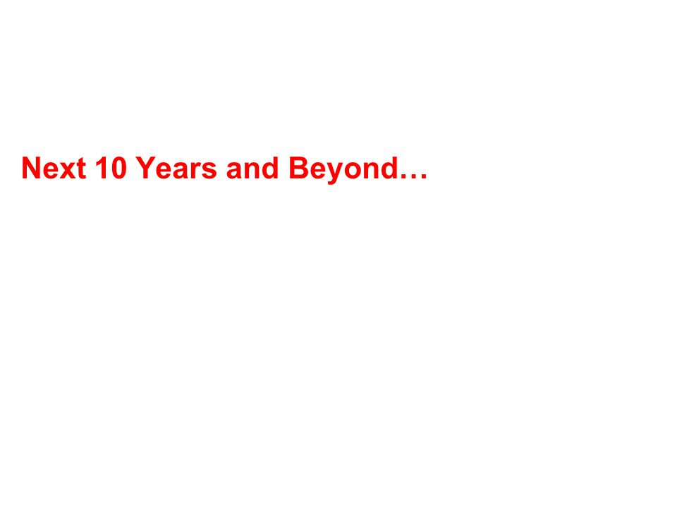 Next 10 Years and Beyond…