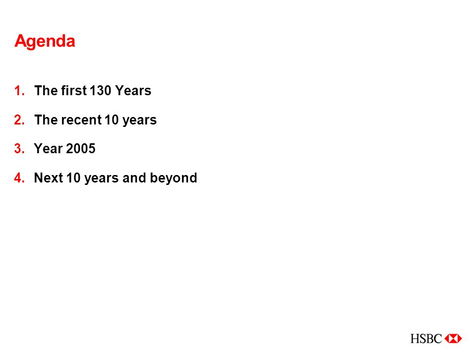 Agenda 1.The first 130 Years 2.The recent 10 years 3.Year 2005 4.Next 10 years and beyond