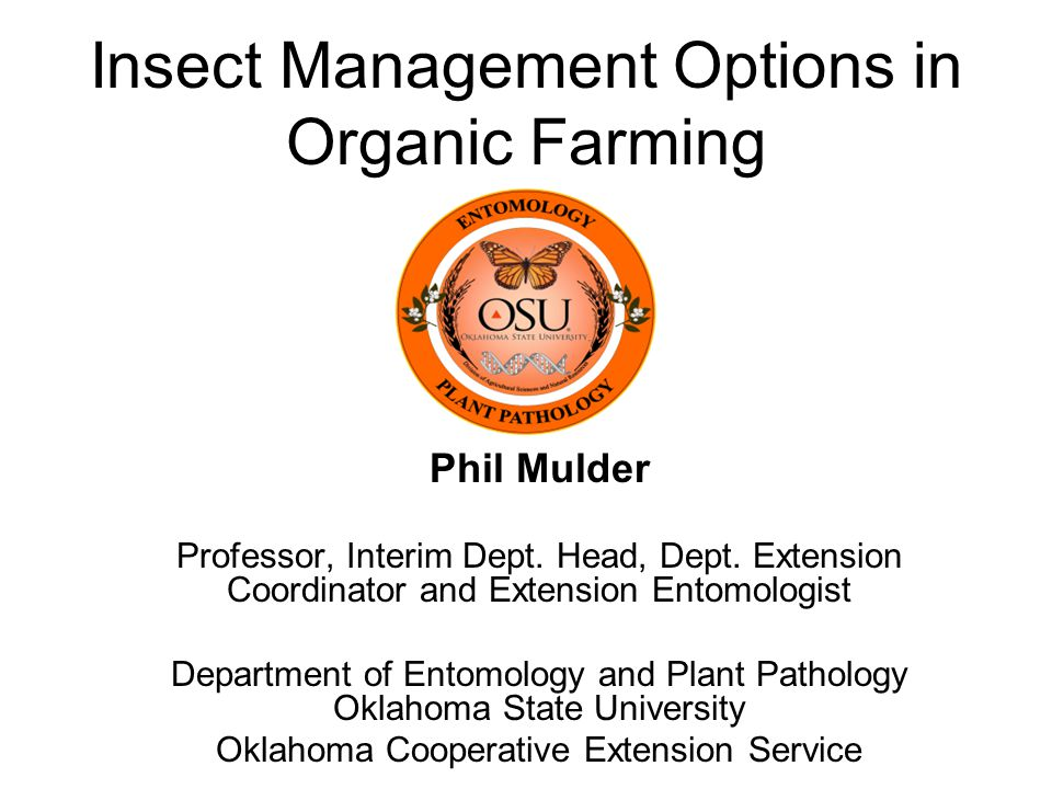 Insect Management Options in Organic Farming Phil Mulder Professor, Interim Dept.