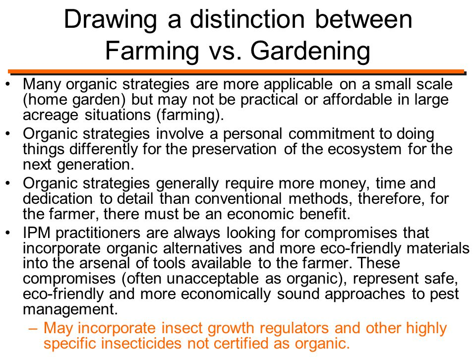 Drawing a distinction between Farming vs.