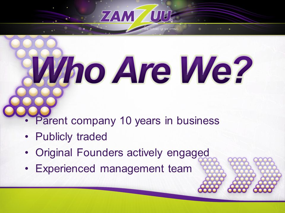 Parent company 10 years in business Publicly traded Original Founders actively engaged Experienced management team