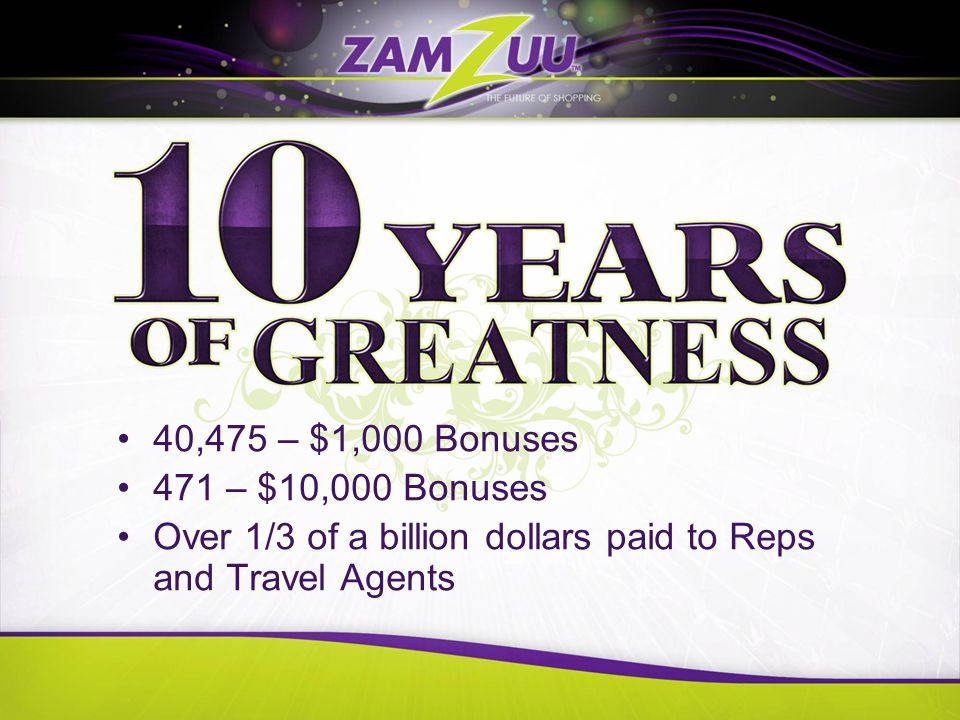 Sales Director Program is unmatched –Company paid health insurance –Company paid life insurance –232 families benefited Directors have earned six $1,000,000 Bonuses Total compensation over $39 million