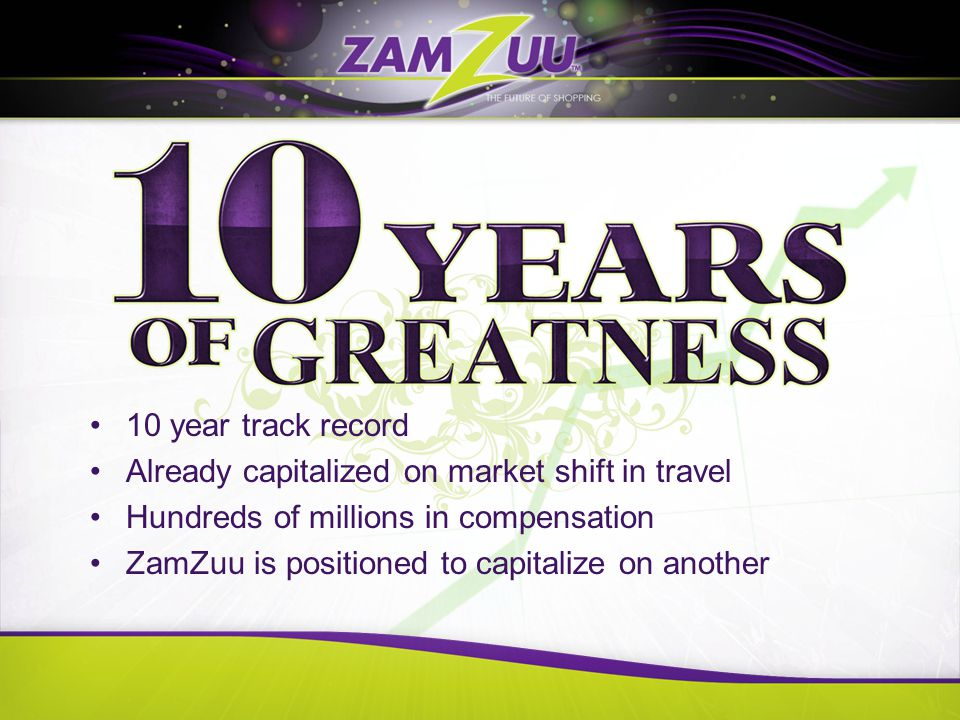 10 year track record Already capitalized on market shift in travel Hundreds of millions in compensation ZamZuu is positioned to capitalize on another