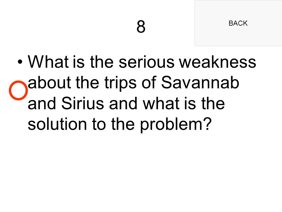 BACK 8 What is the serious weakness about the trips of Savannab and Sirius and what is the solution to the problem