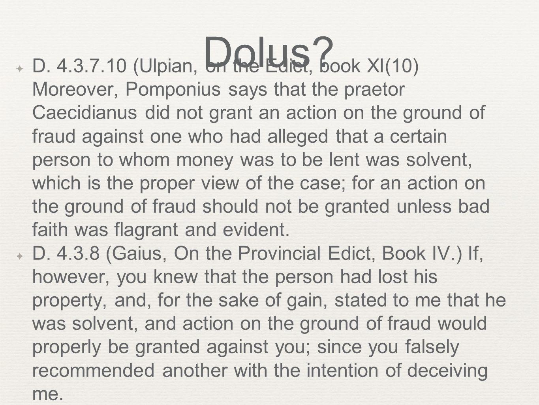 Dolus. ✦ D.