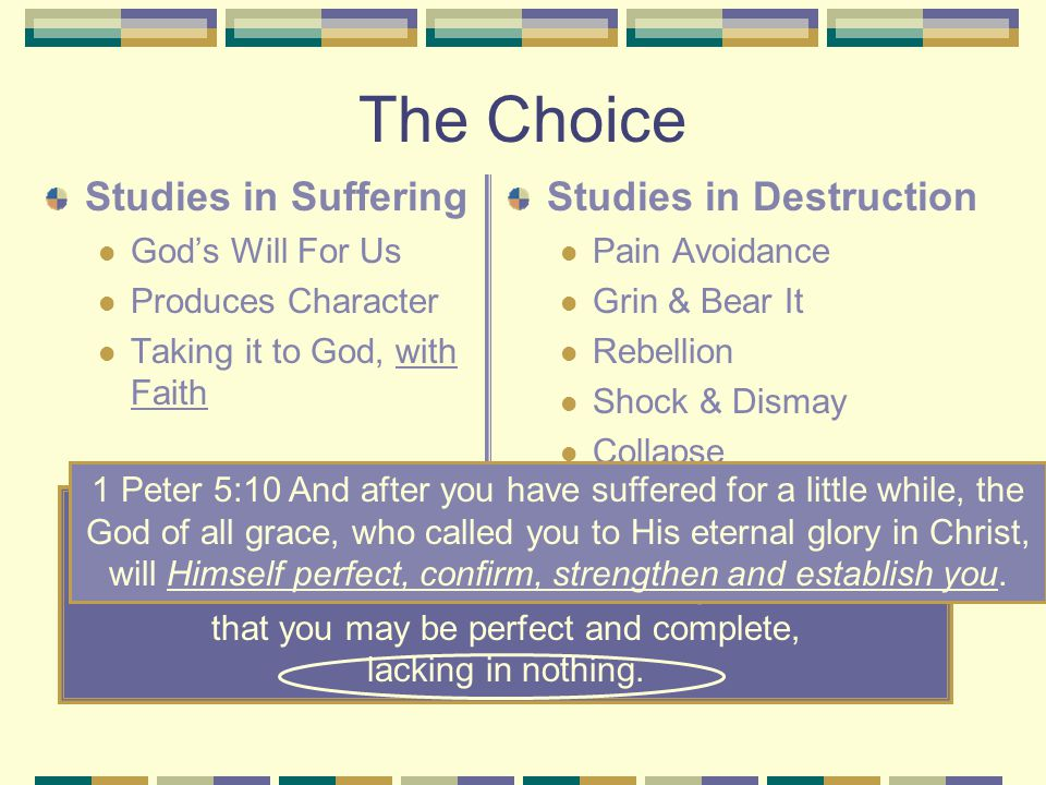 The Choice Studies in Suffering God's Will For Us Produces Character Taking it to God, with Faith Studies in Destruction Pain Avoidance Grin & Bear It