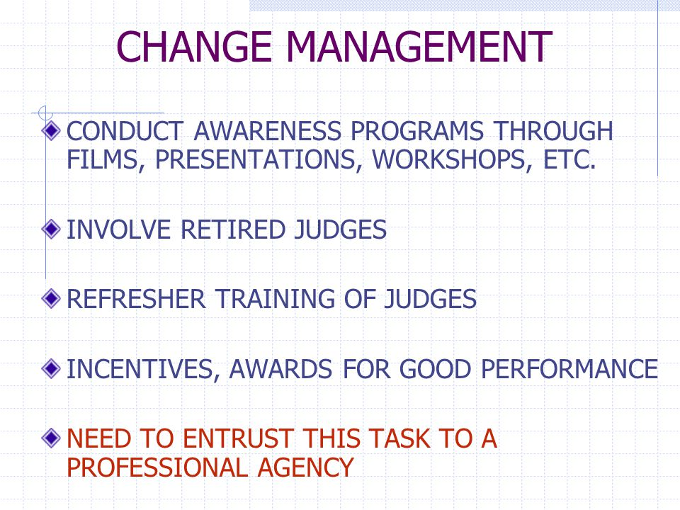CHANGE MANAGEMENT CONDUCT AWARENESS PROGRAMS THROUGH FILMS, PRESENTATIONS, WORKSHOPS, ETC.