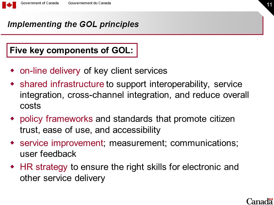 11 Government of CanadaGouvernement du Canada Implementing the GOL principles  on-line delivery of key client services  shared infrastructure to support interoperability, service integration, cross-channel integration, and reduce overall costs  policy frameworks and standards that promote citizen trust, ease of use, and accessibility  service improvement; measurement; communications; user feedback  HR strategy to ensure the right skills for electronic and other service delivery Five key components of GOL: